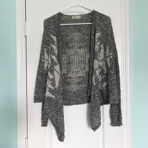 Gray Speckled Hollister Geometric Cardigan